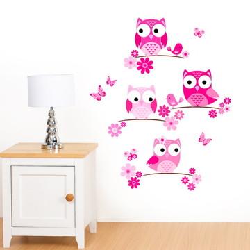 Adesivo corujas rosa