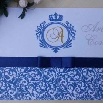 Convite 15 anos /Casamento Azul Marinho e Dourado