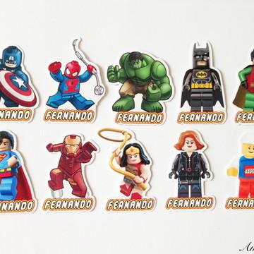 Aplique para tubetes - Lego Super Heróis