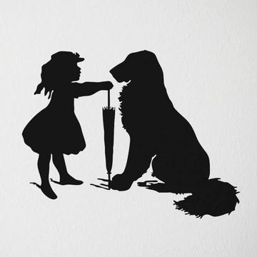 Adesivo criança menina cachorro