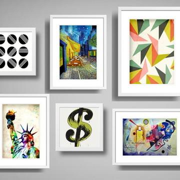 6 Quadros Wall Geométricos Arte Moderna Decoração