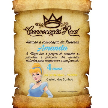 convite de aniversario Pergaminho Cinderela