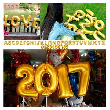 Balão metalizado letras número dourado