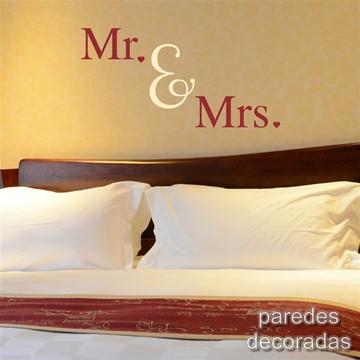Adesivo Frase Mr e Mrs