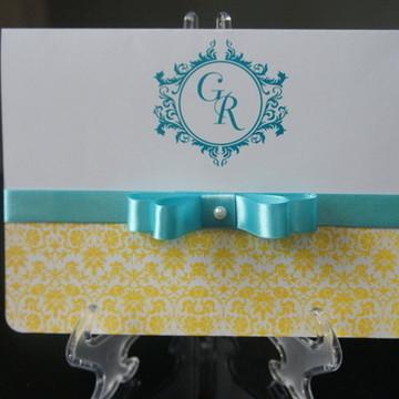 Convite de Casamento - Azul e Amarelo