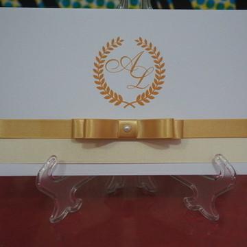 Convite de casamento - Branco e dourado
