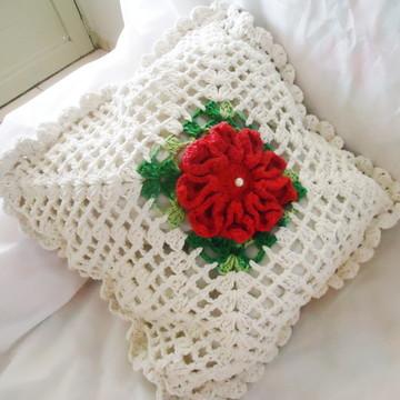 Capa para Almofada Crochê Flor Mosaico