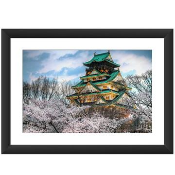 Quadro Japao Castelo Flor Cerejeira Asia