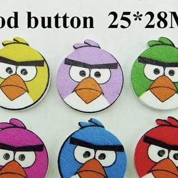 Aplique/botão Madeira Angry Bird - 20 un