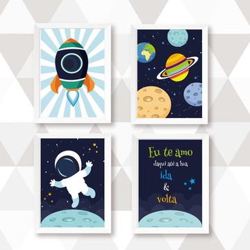 Quadrinhos Decoração Infantil Astronauta