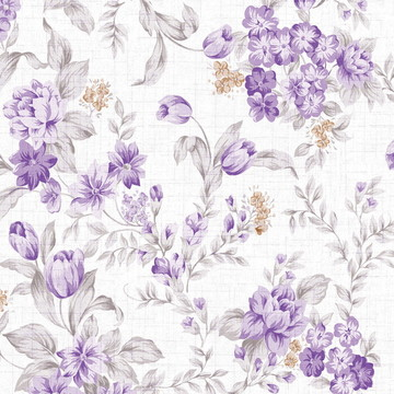 Papel de Parede floral flores roxa 195