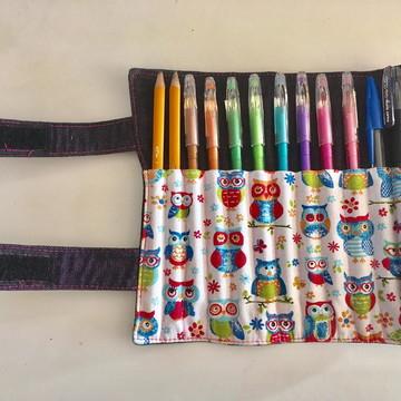 Estojo rolinho Corujas 12 lápis
