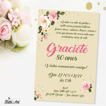 Convite 30 40 50 60 70 80 anos - Digital