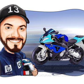 Caricatura de Adulto (moto no mesmo modelo do anúncio)