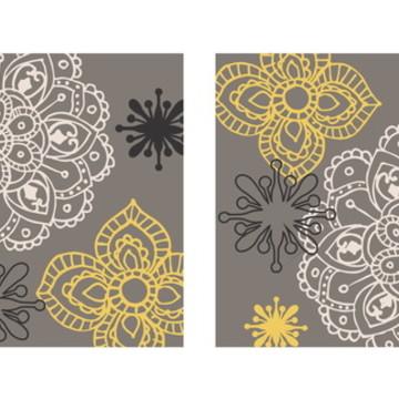 Quadro pintura em Par de Telas Floral Cinza/Ama - 50x50cm
