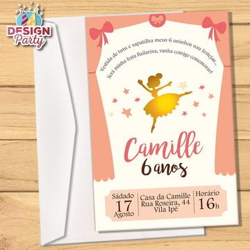 Convite Bailarina Dourado + Envelope