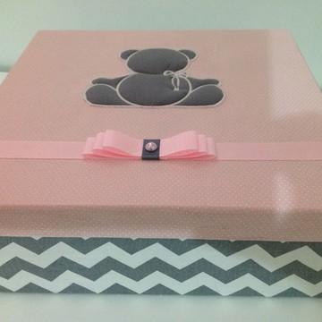 Caixa Maternidade Cinza e Rosa
