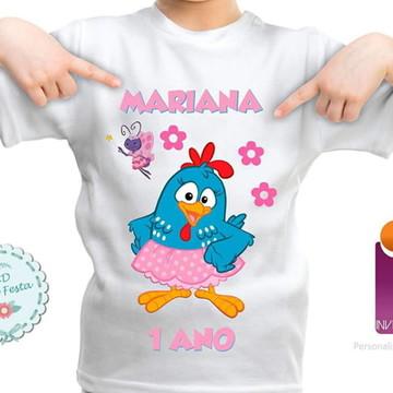 Camisa Infantil Galinha Pintadinha Rosa