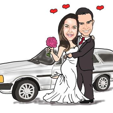 Caricatura Noivos Casamento Casal Barato