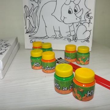 Kit Tela de Pintura Guache Dinossauro