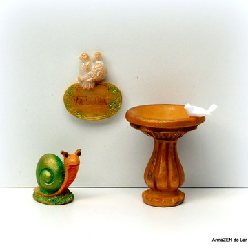 3 pçs.Kit Bebedouro pássaros-miniaturas
