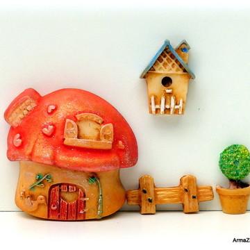 4 pçs.Kit Casa cogumelo-miniaturas
