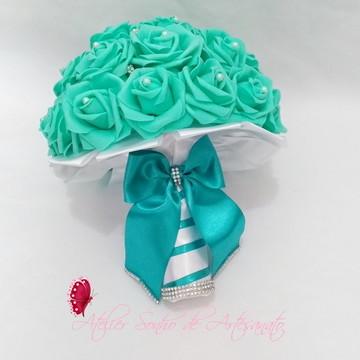 Buquê de noiva (M) Verde Tiffany e branco