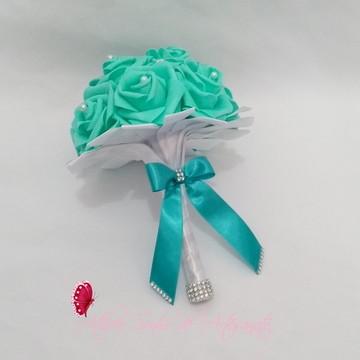 Buquê para madrinhas - Verde Tiffany e branco