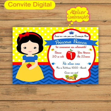Convite Digital Branca de Neve Cute