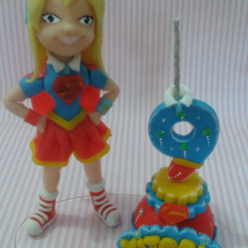 topo de bolo super Girl