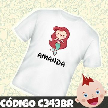 Camiseta Infantil Personalizada Sereia C343BR