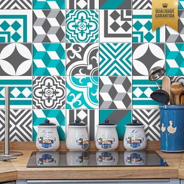 Adesivo de azulejo cozinha turquesa
