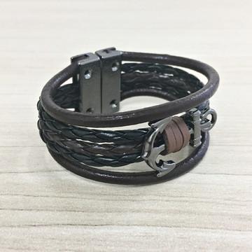 Bracelete Masculino Couro Moda Navy