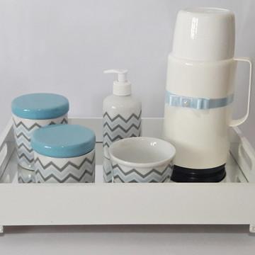 Kit higiene bebê chevron azul e cinza