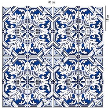 Adesivo de azulejo colonial azul