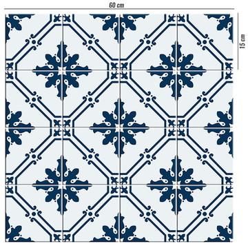 Adesivo de azulejo azul colonial