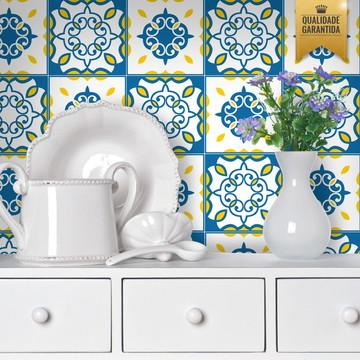 Adesivo de azulejo colonial azul amarelo
