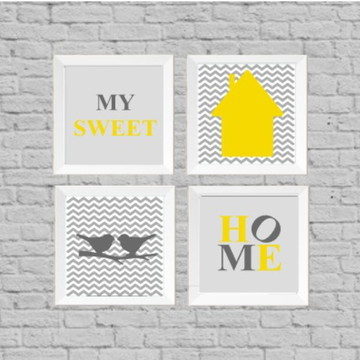 Kit quadros sweet home