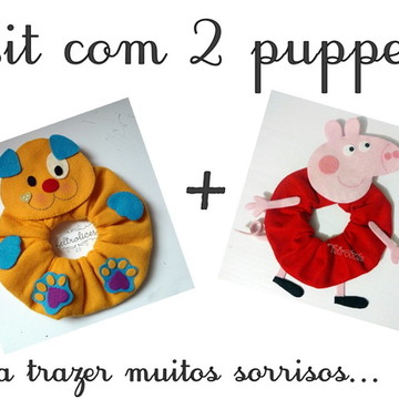 Kit 2 Puppets: Peppa e Cachorrinho