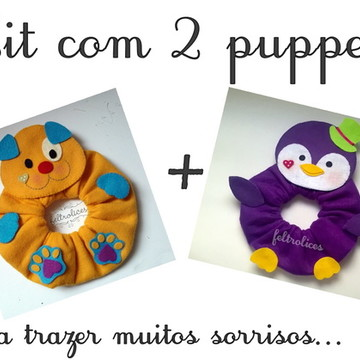Kit 2 Puppets: Pinguim e Cachorrinho
