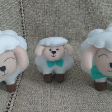 Família ovelha em feltro
