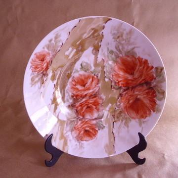 Prato de porcelana Rosas Vermelhas / Coleção parede