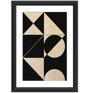 Quadro Figura Geometrica Preto Branco B
