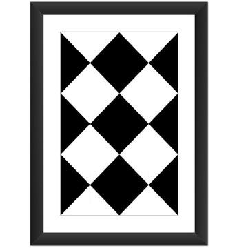 Quadro Figura Geometrica Preto Branco E