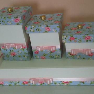 kit higiene floral azul com rosa