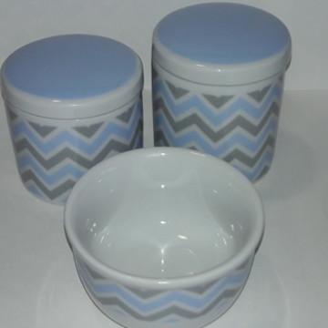 Kit Higiene Bebê chevron cinza e azul