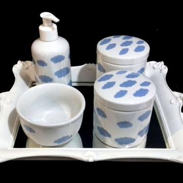Kit higiene bebe porcelana nuvens