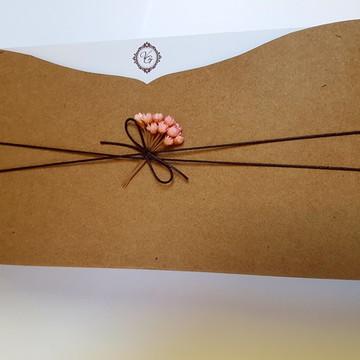 Convite de casamento rustico flor rosa