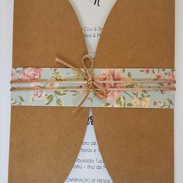 Convite de casamento rustico chic floral
