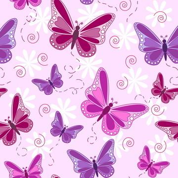 Papel de Parede Borboletas e Flores Rosa